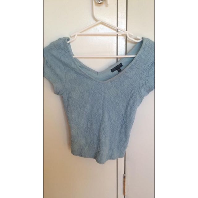 Topshop Light Blue Crop Top