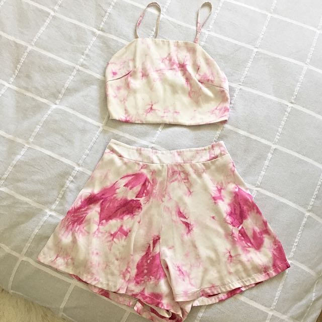 White and Pink Marble Top And Short