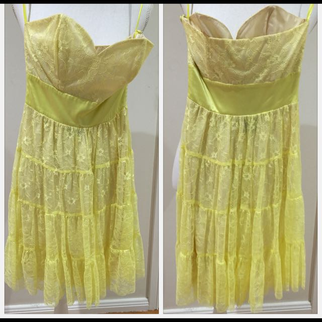 Yellow Lace Tube Dress