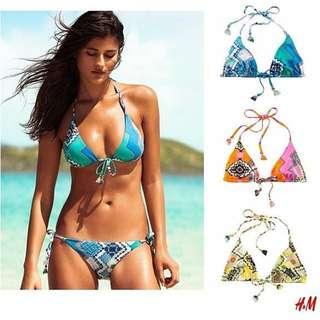 (保留)H&M 幾何圖騰綁帶比基尼泳裝(藍色)