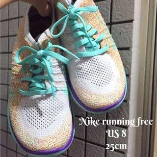 Nike Running Free4.0 flyknit混色編織彩色綠紫底 日本購 US8 25cm