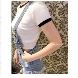 M/D💋圓領螺紋 x 撞色 合身彈性短版上衣(深灰/白) 現貨 高腰褲必搭款