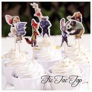 12 X Zootopia Party Cupcake Food Topper Pick