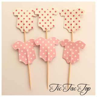 12 X Baby Shower GIRL PINK Food Cupcake Topper Pick. Party Supplies