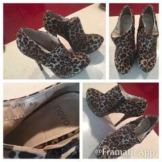 Novo Leopard Booty Heels Sz 6 9/10 Cond