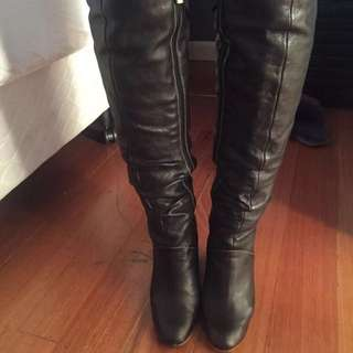 Leather High Knee Boots