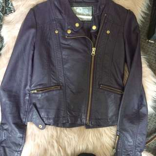 faux purple leather jacket new look size 4/6-8
