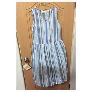 清爽の麻棉條紋洋裝