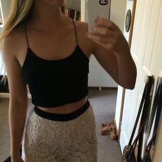 Boohoo Black Lace Crop