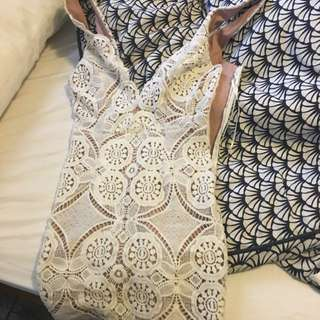 White And Nude Lace dress