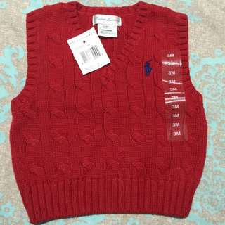 BNWT Genuine Ralph Lauren 3 Months Baby Knit Vest! Very Cute For Your Little Prince!