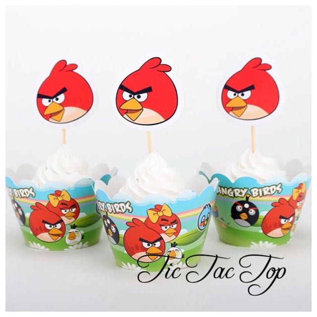 12 X Angry Birds Cupcake Wrappers + Toppers