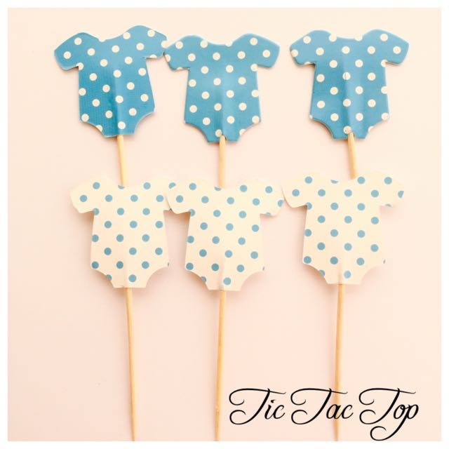 12 X Baby Shower BOY BLUE Food Cupcake Topper Pick