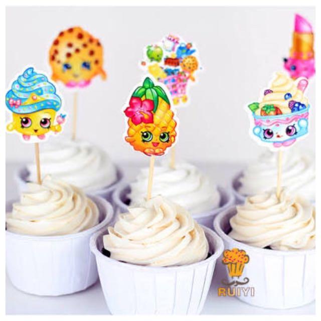 12 X SHOPKINS Cupcake Food Topper Pick
