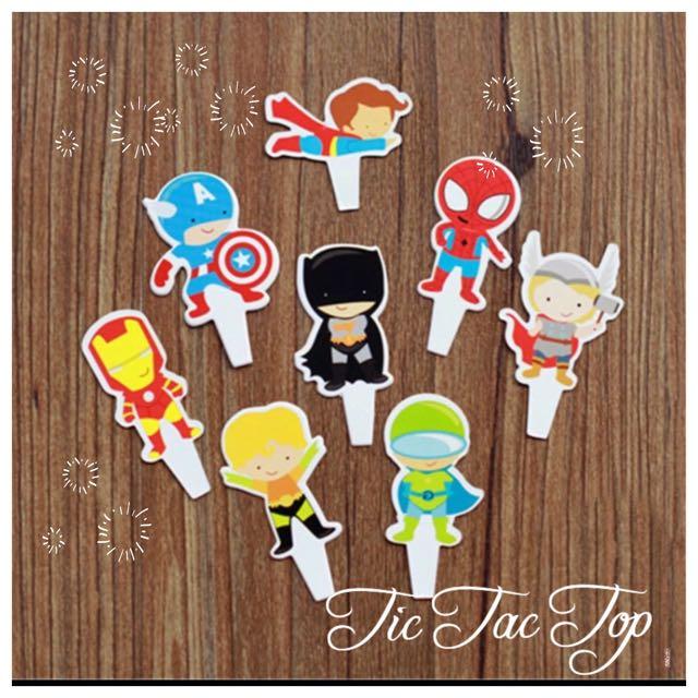 12 X Superhero Avengers Cupcake Food Card Topper
