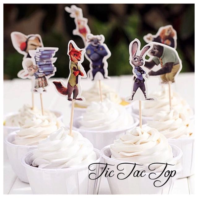 12 X Zootopia Party Cupcake Food Topper Pick