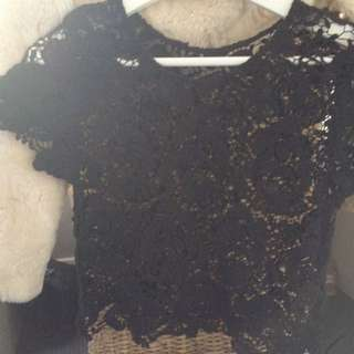 crochet black summer top size small price negotiable