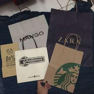 Paperbag Zara, Mango, Stradivarius, Starbuck, Dll