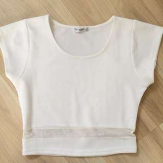 paper scissors white crop top size M