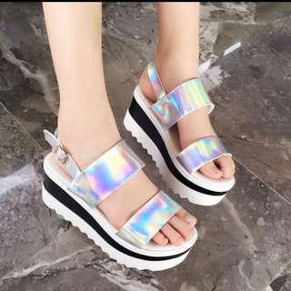 台灣手工韓版風格厚底雷射銀黏帶涼鞋
