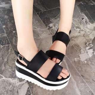 台灣手工韓系風格黑白厚底黏帶涼鞋
