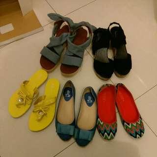 大尺碼羅馬涼鞋夾腳拖鞋平底娃娃鞋(可換物)