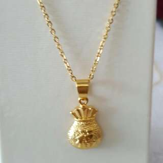 Gold Plated Chain + Pendant Set
