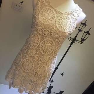 正韓超美蕾絲圈圈洋裝