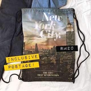 //NEW TOPSHOP New York Drawstring Bag