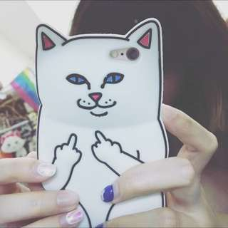 現貨✨RIPNDIP賤貓 iPhone 6 矽膠手機殼 中指貓 白色 貓咪