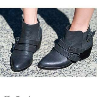 Zaliah Buckled Leather Ankle Boots