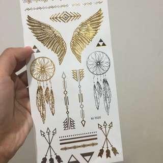 歐美⚜金色波希米亞⚜ 風格 夏日海灘 燙金紋身貼紙