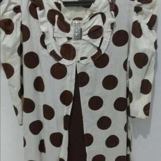 Preloved Tunik Polkadot Putih Coklat