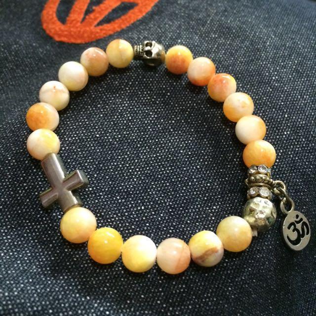 待補匯)白黃橘mix十字架✝️骷顱頭💀 彈性手鍊