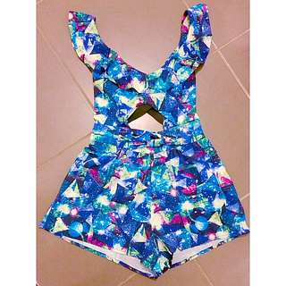 Blue Cutout Playsuit