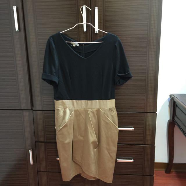 金色緞面連身洋裝(大尺碼)
