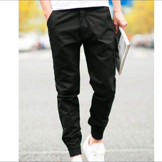 [全新] m號 韓版Jogger鬆緊休閒工作縮口褲 黑色