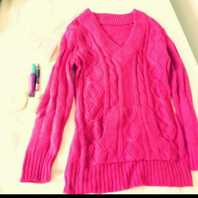 桃紅長版衣