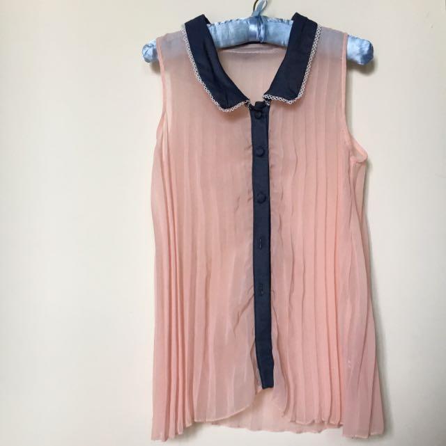 粉色雪紡無袖上衣
