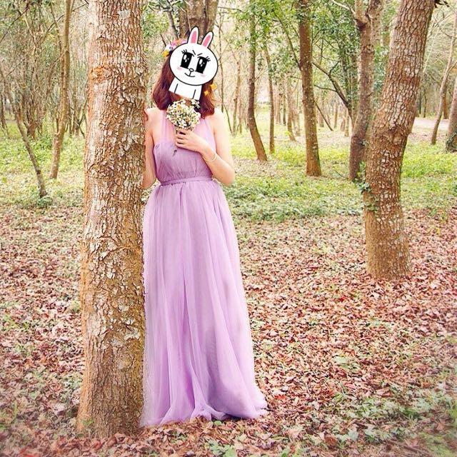 紫芋色飄逸超仙氣質伴娘長禮服