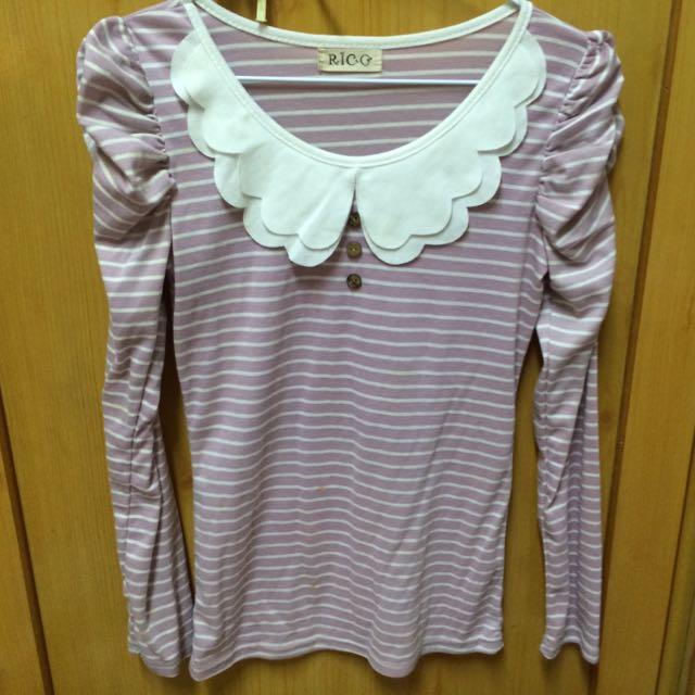 粉紫泡泡袖橫條上衣
