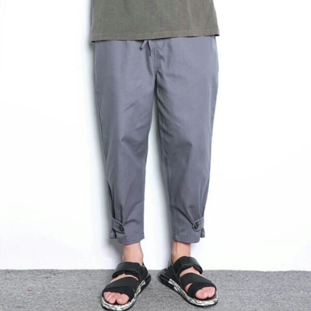 【長褲】 日系春夏裝男士純色九分褲歐美街頭收口運動哈倫褲潮男小脚休閒褲