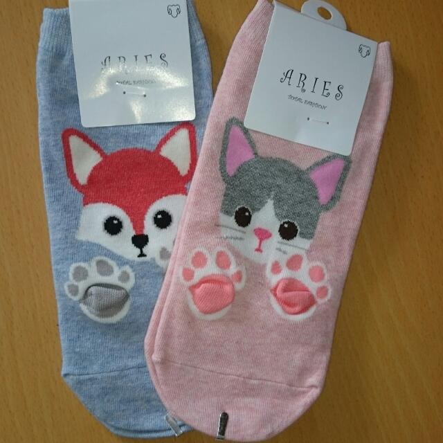 😸狐狸 貓咪😸👉 棉質短襪👍