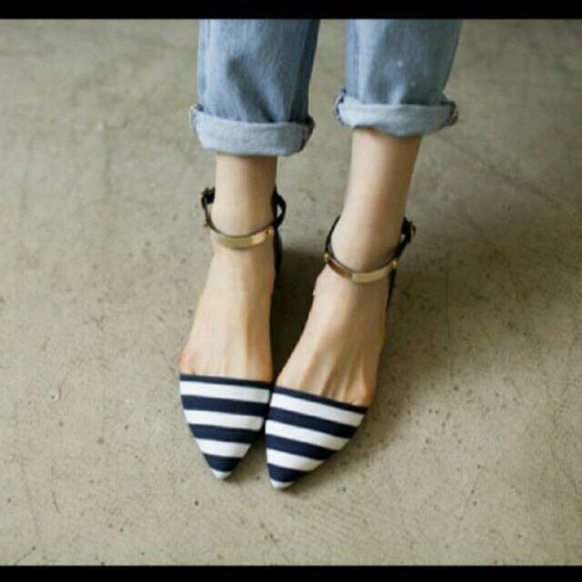 正韓 海軍風 尖頭鞋