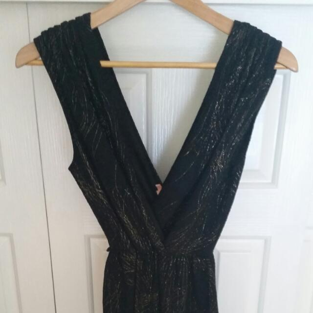 Black And Gold Short Cocktail Dress