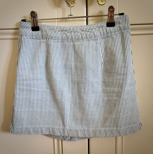 blue stripped skirt