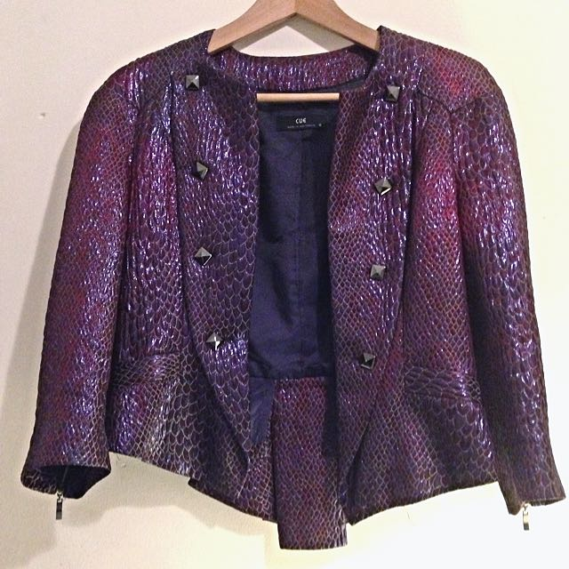 Cue Blazer Or Double Breasted Purple Shimmer Faux Snake Skin Jacket