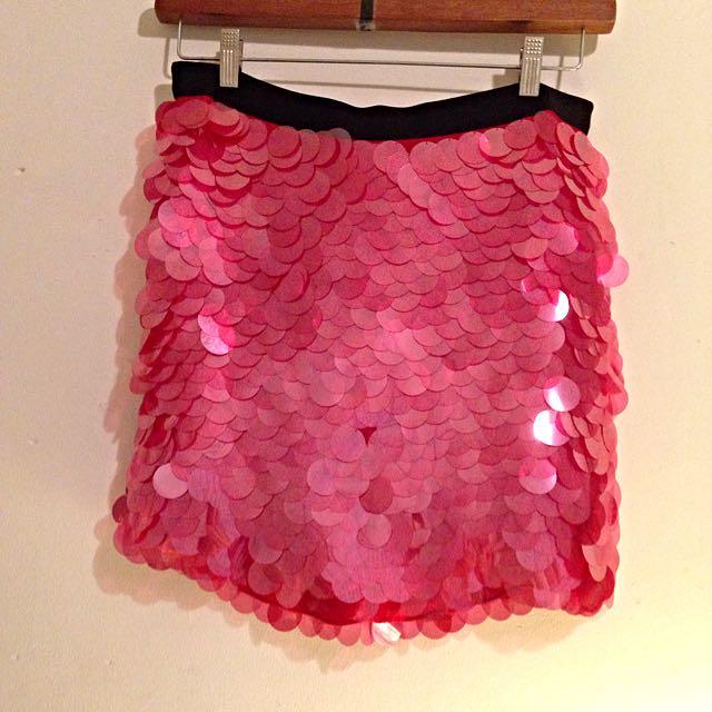 DKNY Red Sequin Mini Skirt
