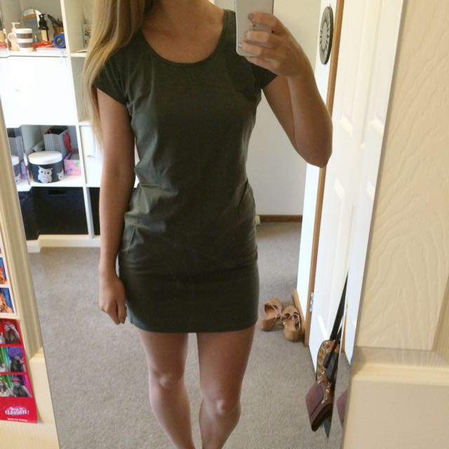 Khaki T Shirt Dress