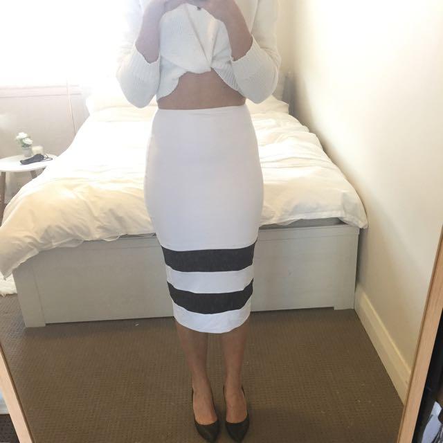 Kookai White And Striped Skirt
